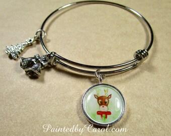 Reindeer Bracelet, Rudolph Bracelet, Christmas Bracelet, Christmas Bangle, Christmas Jewelry, Reindeer Jewelry, Rudolph Jewelry