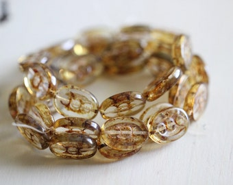 Oval, Beads, 8x12mm, Crystal, Transparent, Topaz, Brown, Picasso, Czech, Glass, Beads, Pressed Glass