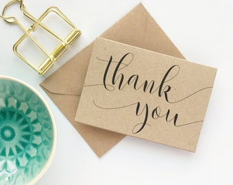 Thank you note cards, kraft thank you card set with envelopes, MINI Thank You Notecards Rustic Kraft Small Thank You Cards Gift Cards 10 Set