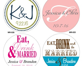 120 - 2  inch Custom Glossy Waterproof Wedding Stickers Labels - hundreds of designs to choose - change designs to any color or wording