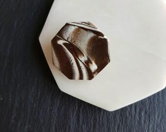 Hexagon brooch, geometric ceramic brooch, handmade, nerikomi black and white clay