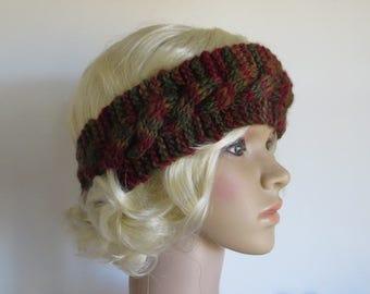 Wool Ear Warmer, Blue Face Leicester Headband, Cable Headband