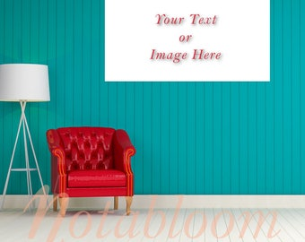 Teal & Red Chair with Floor Lamp Canvas Mock-Up / Stock Photo / Art Stock Image / Interior Room