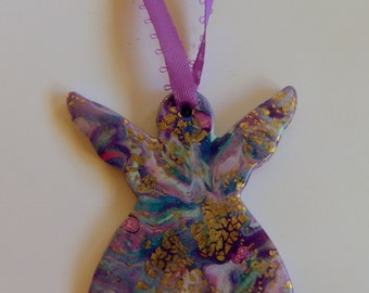 Angel Tree Ornament Angel Tree Decoration Purple Angel Tree Ornament Purple Angel Tree Decoration Polymer Clay Ornament