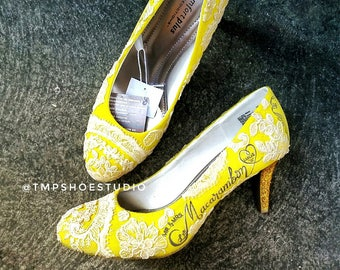 Yellow lace custom handpainted wedding shoes