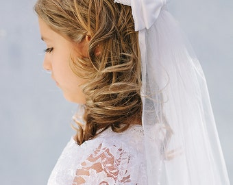 Girl's Veil, The Audrey Veil, Flower Girl Veil, Bridal Veil, Communion Veil