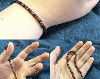 Red, Green, and Blue Patterned Beaded Bracelet