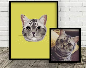 Custom Cat Illustration | MADE FROM PHOTO | Print at Home | Pet Gift  |  Digital File | Portrait