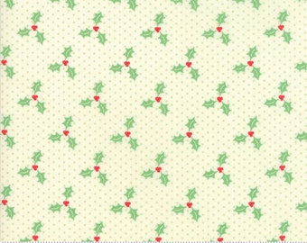 Swell Christmas by Urban Chiks for Moda, #31126-11, Green Holly on Green Dot, Christmas Fabric, Christmas in July, IN STOCK