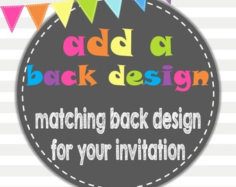 Add On a Matching Back Design for Digital Invitations