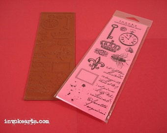 Collage Elements / Invoke Arts Collage Rubber Stamps / Unmounted Stamp Set
