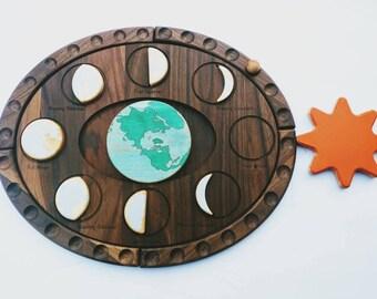 Moon phases puzzle - moon decor - Moon Calendar - Moon phases