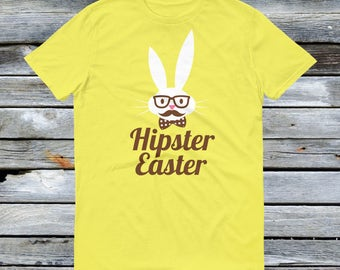 Hipster Easter Bunny Shirt - Hipster Easter Bunny with Glasses and a Bow Tie mustache combo - Funny Easter Shirts