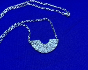 Silver necklace, sterling silver reversible necklace, textured pendant necklace