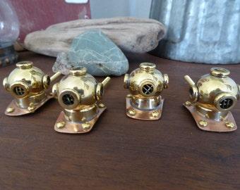 Deep Sea DIVER HELMET Scuba Knob - Copper & Brass Metal Nautical Knob Beach Ocean Decorative Dresser Drawer Pull