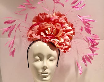 Pink Fascinators -Ladies Fascinator- Derby- Kentucky Derby -Feather Fascinator- Wedding Hat- Large fascinator- Ladies Luncheon-