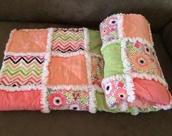 Baby Rag Quilt Baby Girl Coral Light Green Peach Chevron Floral Quilt Nursery Bedding Handmade Crib Bedding Patchwork Blanket Rag Quilt