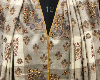 Papier Mache Hand Embroidered Pure Pashmina Shawl, White Pure Cashmere Woman Shawl, Hand Embroidery, Kashmir Work, Embroidered Pashmina Wrap
