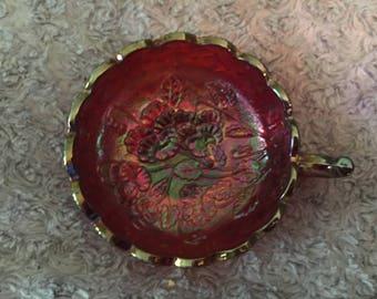 Vintage Marigold Amber Carnival Iridescent Glass Scalloped Dish