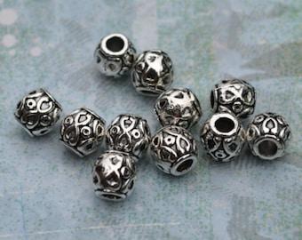 20pcs Metal Bead Antiqued Silver 8x8mm Barrel 3mm Hole Drum