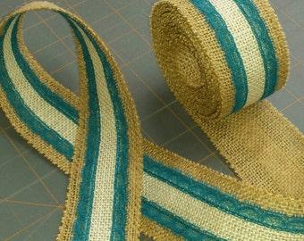 Natural and Ivory Burlap ribbon with Dark Teal Lace Ribbon