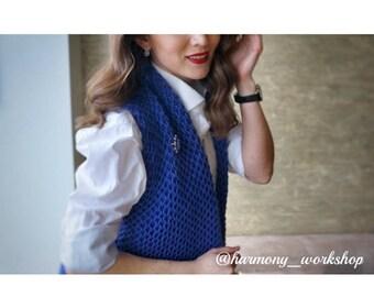 ON SALE! Handmade Women's Knitting  Blue Vest, 100% Merino Wool, Riga, Latvia