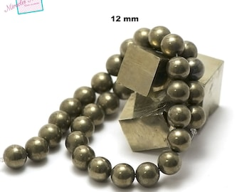 """strand 39 cm appx 32 pyrite beads """"12 mm round"""", natural stone"""
