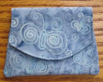 Butterflies on Blue Small Batik Wallet