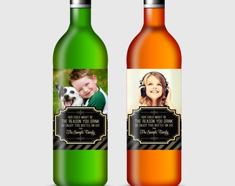 Custom Photo Wine Bottle Label for Teacher, Teacher Appreciating Gift, Our Child Might Be the Reason You Drink! - Printable PDF