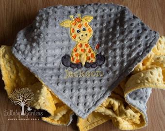 Personalized Custom Minky Baby Blanket, Giraffe Personalized Minky Baby Blanket, Personalized Baby Gift, Giraffe Appliqued Minky Blanket