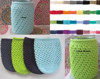 CHOOSE COLOR - Crochet Mason Jar Cozy - Quart Jar Cover - Bottle Cozy - Quart Mason Jar Sleeve - 32oz Cover - Quart sized - Ball - Gift Idea
