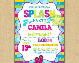Splash Party Invitation, Pool Party Birthday Invitation, Girl Pool Birthday, Summer Birthday, Colorful Splash Birthday, Splish Splash Invite