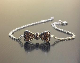 Smokey Topaz Sterling Silver Bow Tie Bracelet - Silver Bow Tie Topaz Bracelet - Topaz Bow Tie Handmade Bracelet - Bow Tie Silver Bracelet