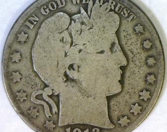 1913-S Barber Half Dollar; VG