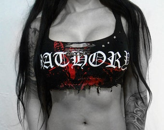Bathory destroyed top cropped ⇹ black metal ⇹  shredded shirt top