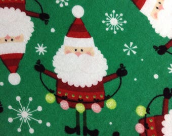 One Half Yard of Fabric -  Santa on COTTON KNIT, Christmas Fabric