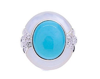 Turquoise, Pearl and Diamond Ring, 0.03ct, 14K Gold (14R322)