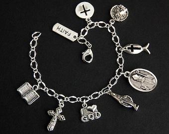 Saint Kevin Bracelet. Catholic Bracelet. St Kevin Charm Bracelet. Catholic Jewelry. Patron Saint Bracelet. Religious Bracelet.