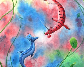 Fantasy Art Print- Ever and Ever - 8.5x11 or 5x7 Open Edition Print - Fantasy Dragon Art