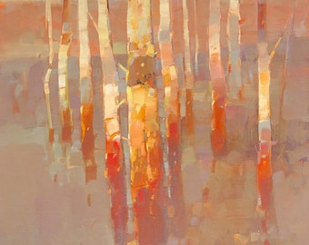 Birches-Sunrise, Landscape oil Painting, Original hand made artwork, One of a kind