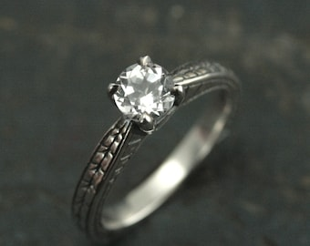 Engraved Engagement Ring~Sterling Silver Engagement Ring~Promise Ring~Chevron Solitaire Ring~Moissanite Ring~Cubic Zirconia Ring~Pocahontas