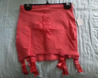 Vintage 50's coral garter girdle, lingerie, Vanity Fair SAMPLE #51-5 on tag RARE