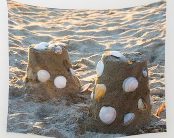 Beach theme tapestry, sand castle photo wall hanging for summer cottage decorating, sea shells coastal wall art