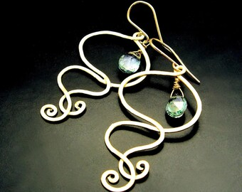 INFINITY ~ Green Mystic Topaz, 14kt Gold Fill Spiral Earrings