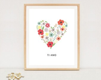 Ti amo wall quote poster - Italian I love you wall art home decor - valentines day poster - INSTANT DOWNLOAD