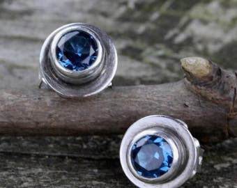 Blue zircon earrings / sterling silver studs / gemstone earrings / gift for her / December birthstone earrings / large stud earrings / sale