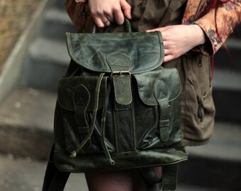 Rucksack Large Olive Green Leather