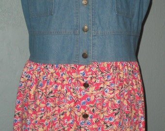 90's Denim & Floral Dress Size Large by Carol Anderson Casual Summer Festival Grunge Baby Doll