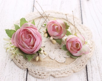 Bridal flower bobby pins, Flower hair pins, wedding hair accessories, flower headpiece, flower hair piece, pink hair piece– Set of three