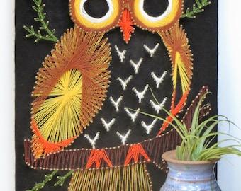 Owl String Art Wall Hanging Vintage Owl Wall Art Hand Made Retro Owl Bird Decor